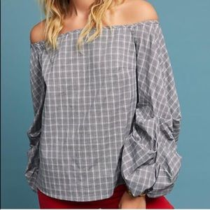 Anthropologie Guest Editor Grey Plaid Top